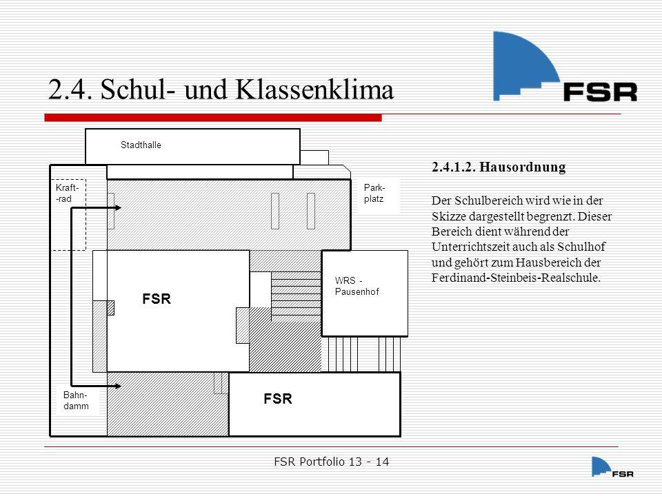 FSR Portfolio 13 - 14 2.4.Schul- und Klassenklima 2.4.1.2.