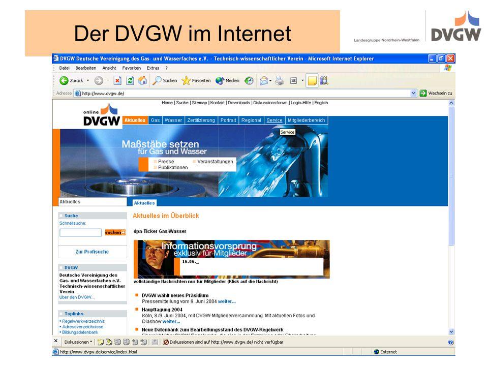 Der DVGW im Internet
