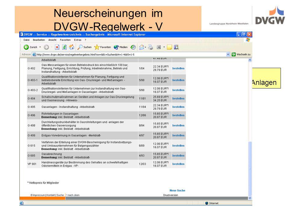 Neuerscheinungen im DVGW-Regelwerk - V... für GDRM-Anlagen