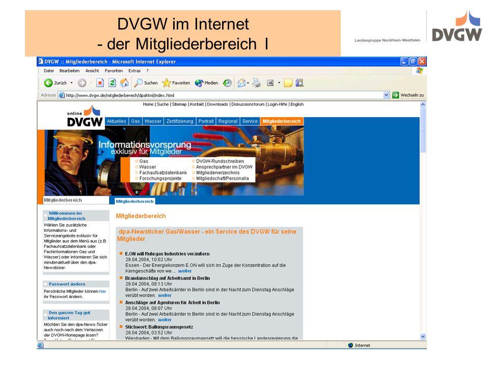 DVGW im Internet - der Mitgliederbereich I