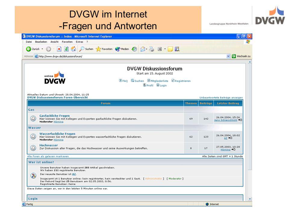 DVGW im Internet -Fragen und Antworten