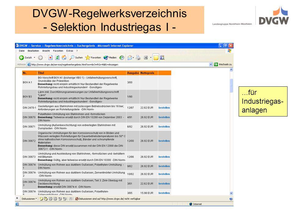 DVGW-Regelwerksverzeichnis - Selektion Industriegas I -...für Industriegas- anlagen
