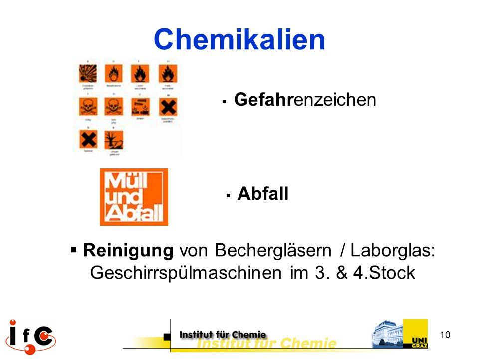 10 Chemikalien  Gefahrenzeichen  Abfall  Reinigung von Bechergläsern / Laborglas: Geschirrspülmaschinen im 3. & 4.Stock