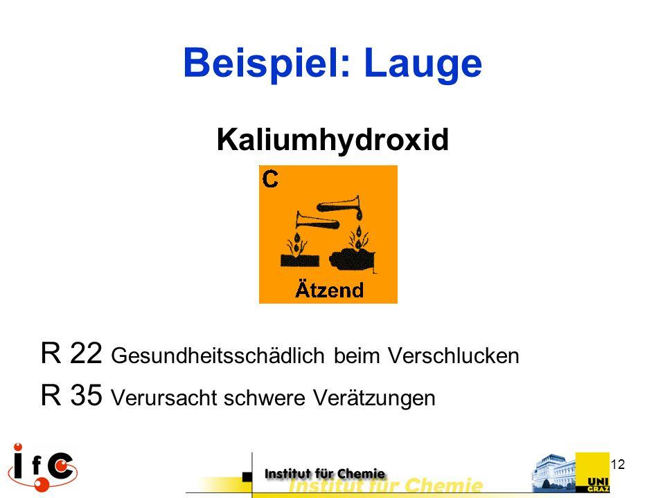 12 Beispiel: Lauge Kaliumhydroxid R 22 Gesundheitsschädlich beim Verschlucken R 35 Verursacht schwere Verätzungen