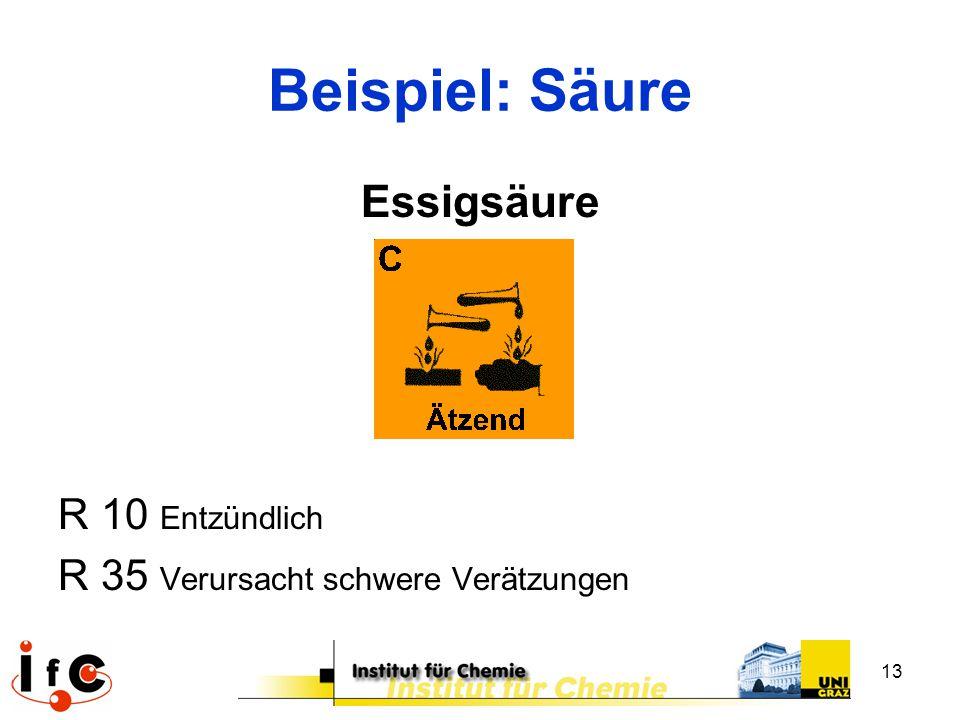13 Beispiel: Säure Essigsäure R 10 Entzündlich R 35 Verursacht schwere Verätzungen