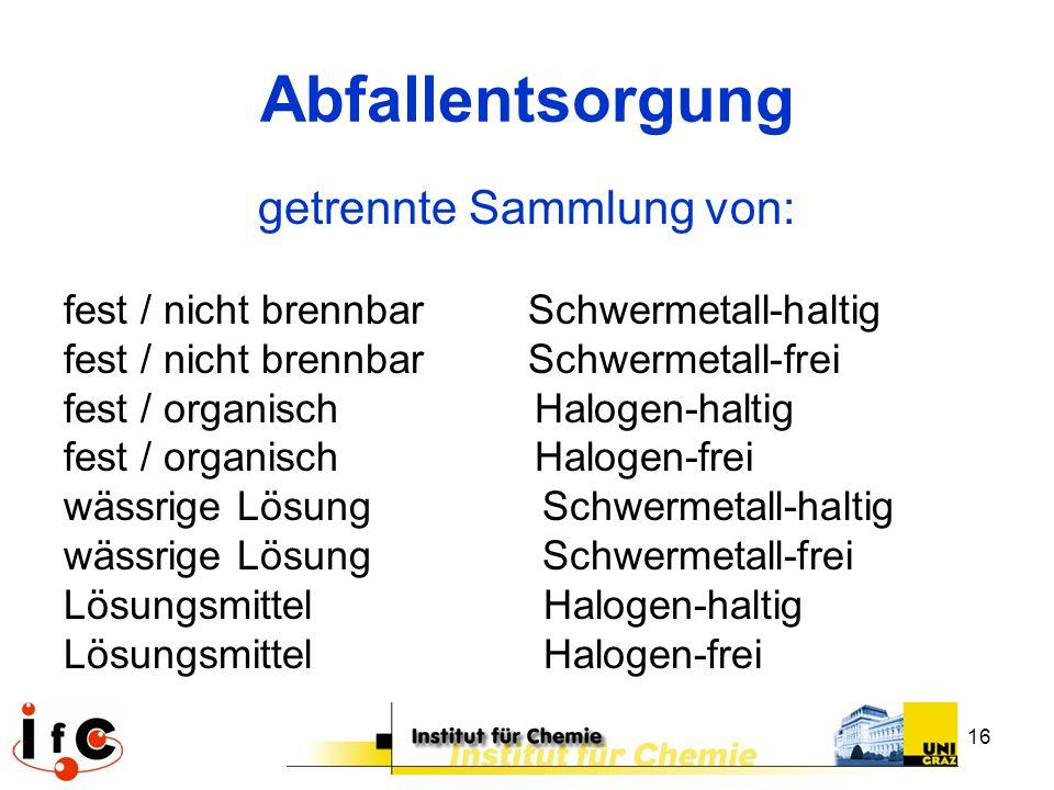 16 Abfallentsorgung getrennte Sammlung von: fest / nicht brennbar Schwermetall-haltig fest / nicht brennbar Schwermetall-frei fest / organisch Halogen