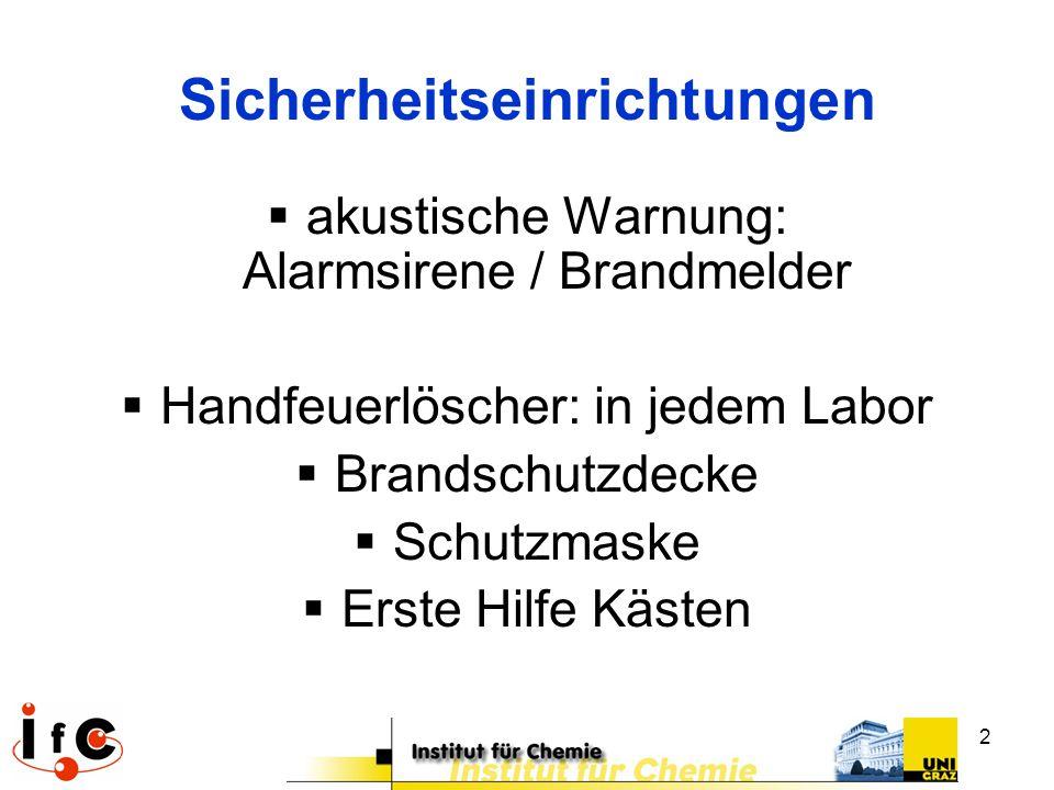 2 Sicherheitseinrichtungen  akustische Warnung: Alarmsirene / Brandmelder  Handfeuerlöscher: in jedem Labor  Brandschutzdecke  Schutzmaske  Erste