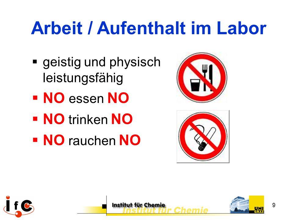9  geistig und physisch leistungsfähig  NO essen NO  NO trinken NO  NO rauchen NO Arbeit / Aufenthalt im Labor