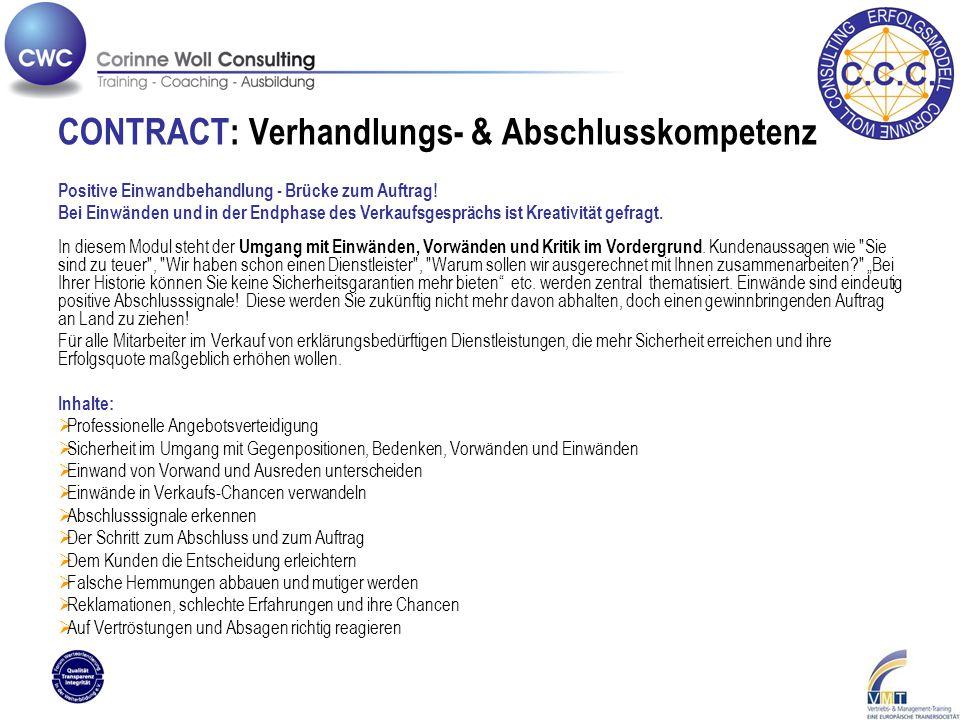 CONTRACT: Verhandlungs- & Abschlusskompetenz Positive Einwandbehandlung - Brücke zum Auftrag.