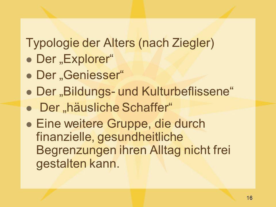 """Typologie der Alters (nach Ziegler) Der """"Explorer"""" Der """"Geniesser"""" Der """"Bildungs- und Kulturbeflissene"""" Der """"häusliche Schaffer"""" Eine weitere Gruppe,"""