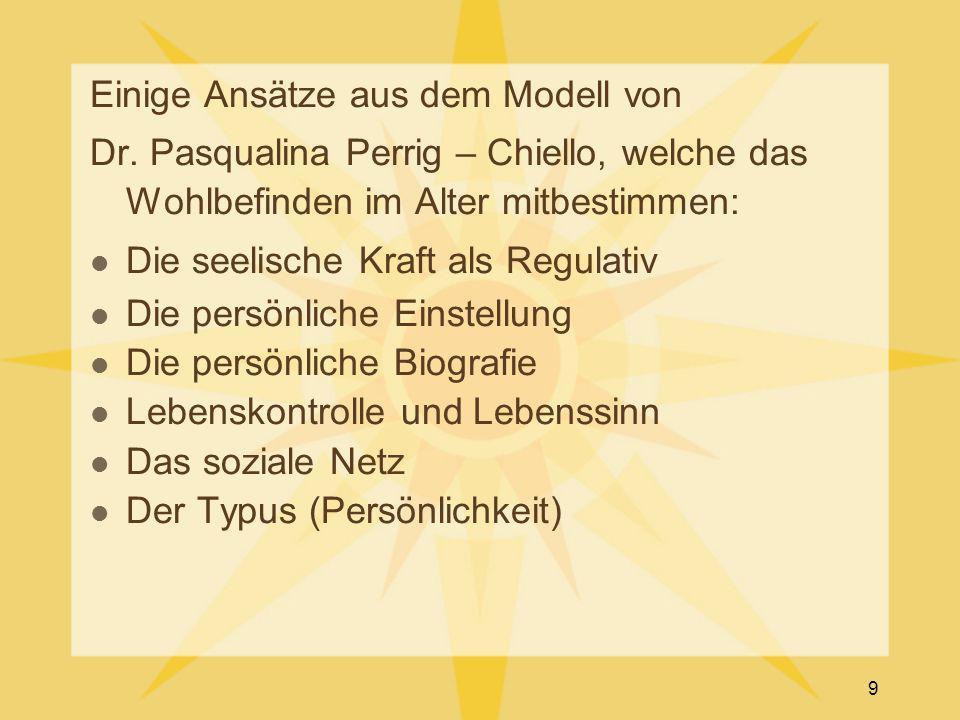 Einige Ansätze aus dem Modell von Dr. Pasqualina Perrig – Chiello, welche das Wohlbefinden im Alter mitbestimmen: Die seelische Kraft als Regulativ Di