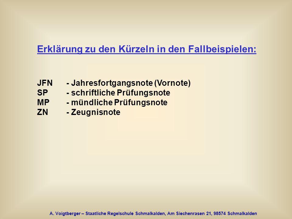 A. Voigtberger – Staatliche Regelschule Schmalkalden, Am Siechenrasen 21, 98574 Schmalkalden Erklärung zu den Kürzeln in den Fallbeispielen: JFN - Jah