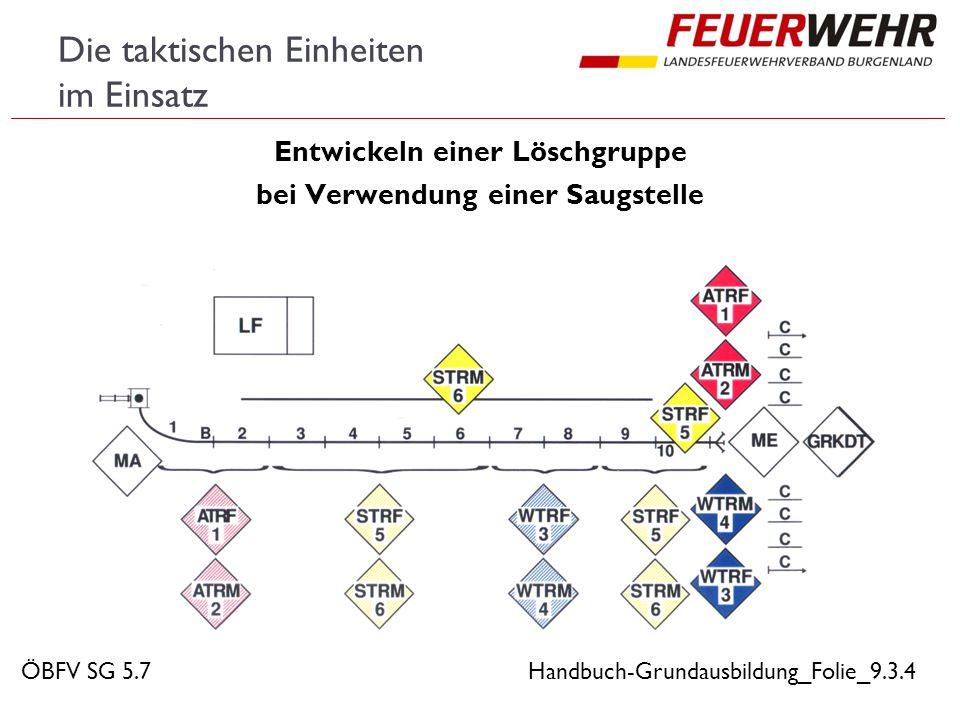 Die taktischen Einheiten im Einsatz  Übungsmäßige Endaufstellung der Gruppe  bei Vornahme von zwei C-Löschleitungen Handbuch-Grundausbildung_Folie_9.3.5ÖBFV SG 5.7