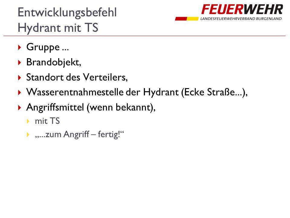Entwicklungsbefehl Hydrant mit TS  Gruppe...