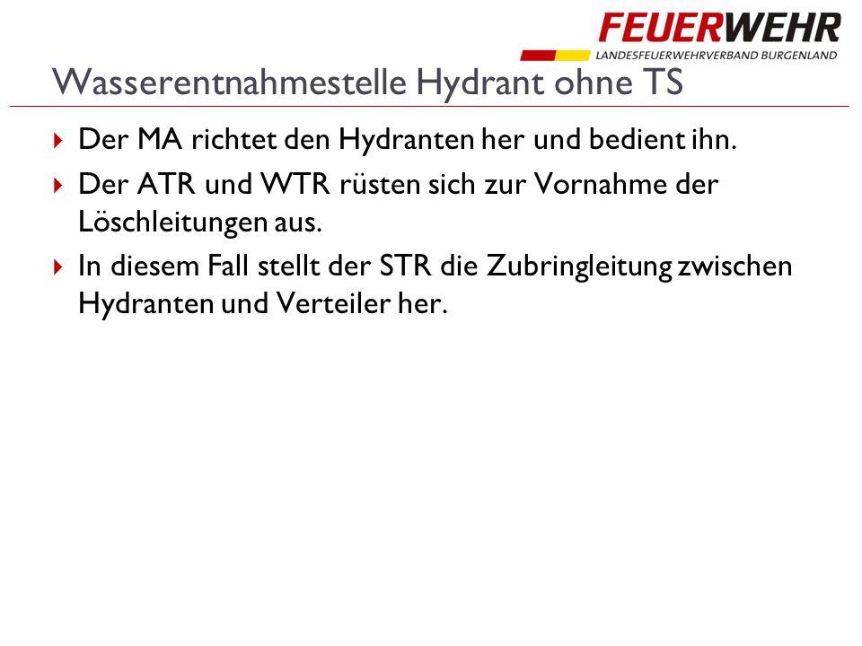Wasserentnahmestelle Hydrant ohne TS  Der MA richtet den Hydranten her und bedient ihn.