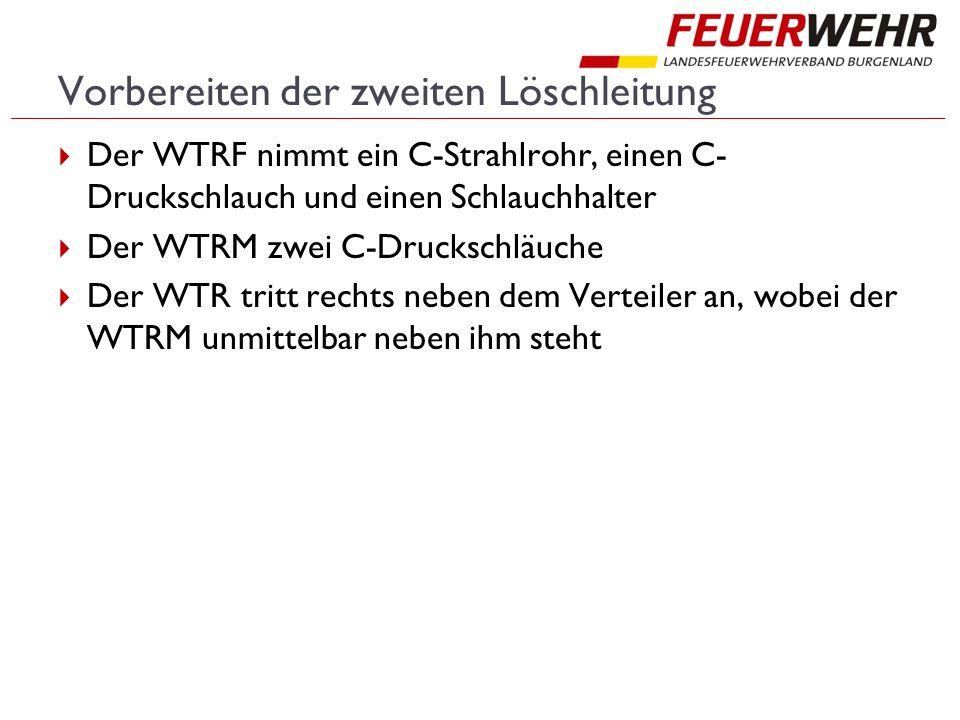 Vorbereiten der zweiten Löschleitung  Der WTRF nimmt ein C-Strahlrohr, einen C- Druckschlauch und einen Schlauchhalter  Der WTRM zwei C-Druckschläuche  Der WTR tritt rechts neben dem Verteiler an, wobei der WTRM unmittelbar neben ihm steht