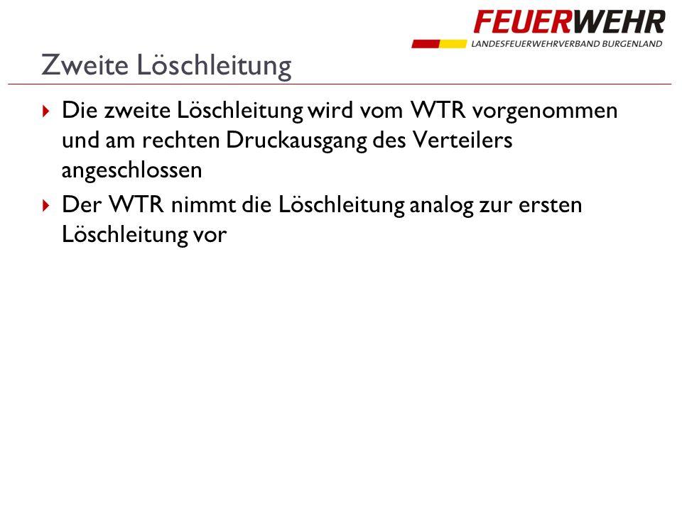 Zweite Löschleitung  Die zweite Löschleitung wird vom WTR vorgenommen und am rechten Druckausgang des Verteilers angeschlossen  Der WTR nimmt die Löschleitung analog zur ersten Löschleitung vor