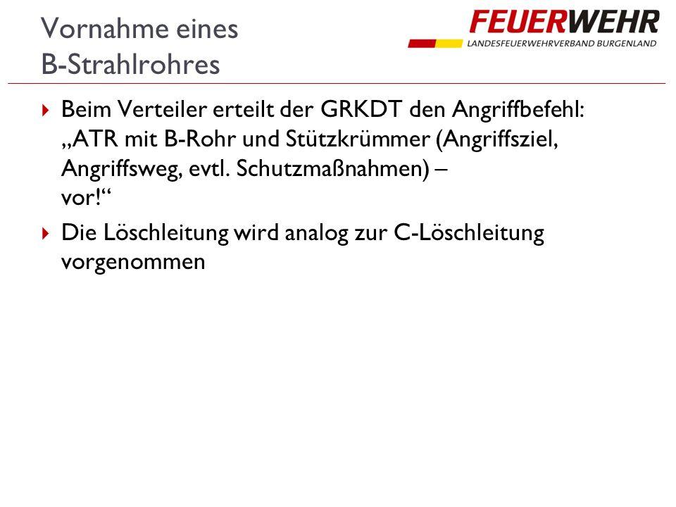 """Vornahme eines B-Strahlrohres  Beim Verteiler erteilt der GRKDT den Angriffbefehl: """"ATR mit B-Rohr und Stützkrümmer (Angriffsziel, Angriffsweg, evtl."""