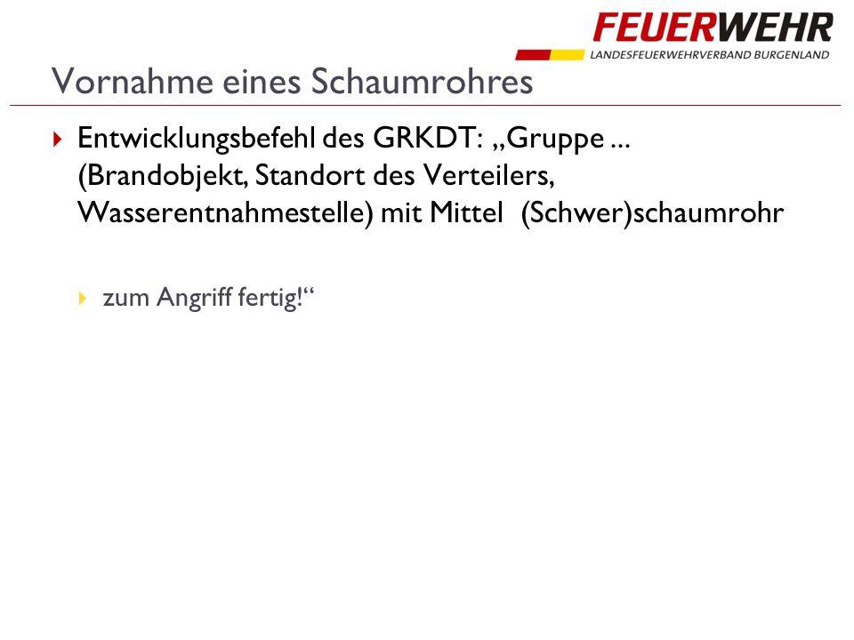 """Vornahme eines Schaumrohres  Entwicklungsbefehl des GRKDT: """"Gruppe..."""
