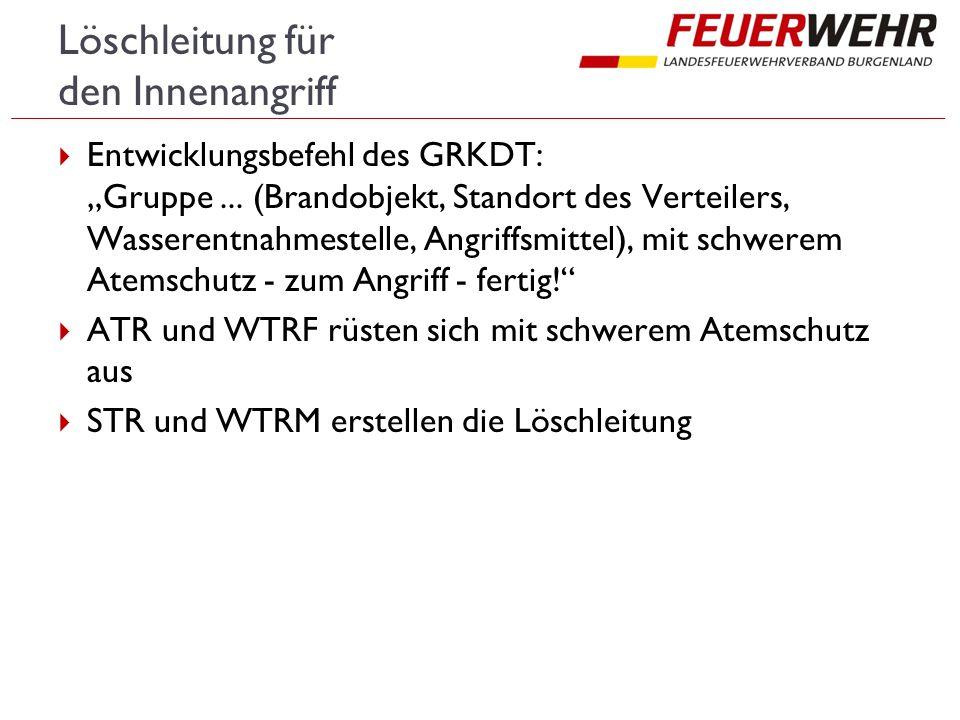 """Löschleitung für den Innenangriff  Entwicklungsbefehl des GRKDT: """"Gruppe..."""