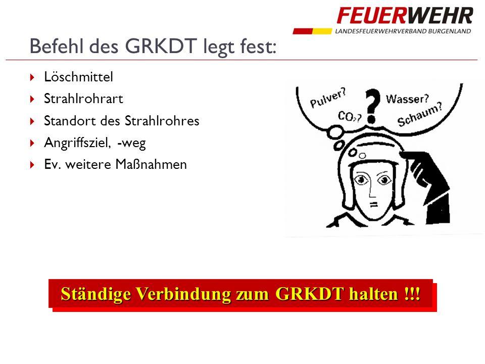 Befehl des GRKDT legt fest:  Löschmittel  Strahlrohrart  Standort des Strahlrohres  Angriffsziel, -weg  Ev.