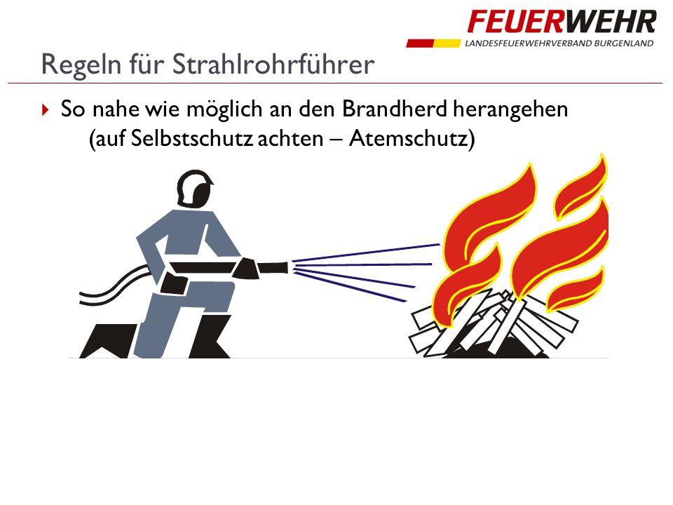 Regeln für Strahlrohrführer  So nahe wie möglich an den Brandherd herangehen (auf Selbstschutz achten – Atemschutz)