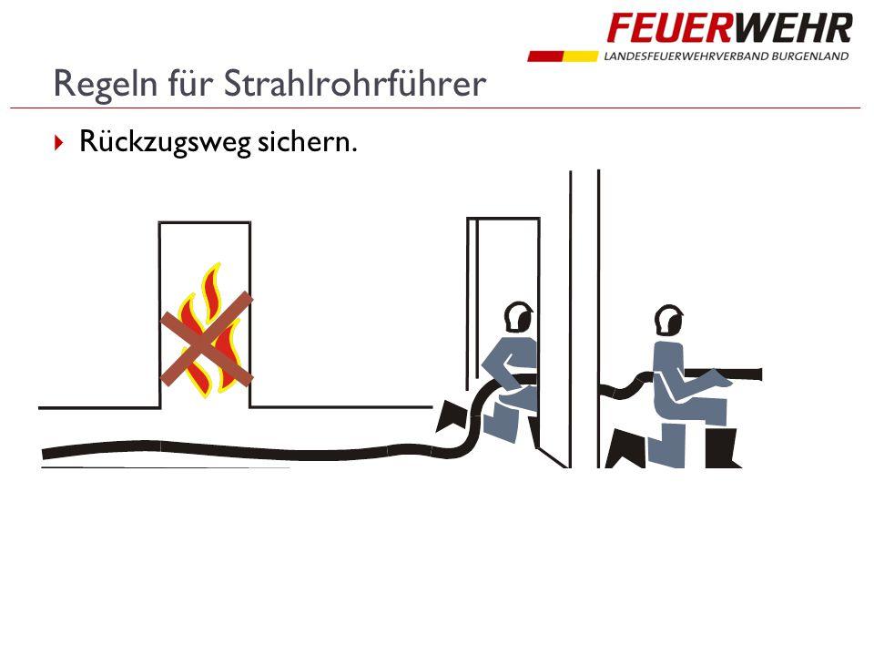 Regeln für Strahlrohrführer  Rückzugsweg sichern.