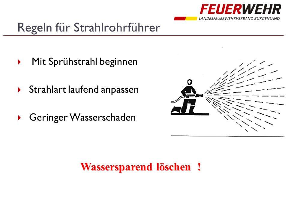Regeln für Strahlrohrführer  Mit Sprühstrahl beginnen  Strahlart laufend anpassen  Geringer Wasserschaden Wassersparend löschen !