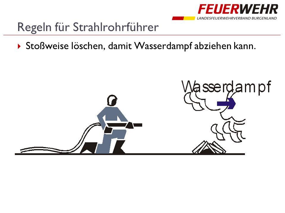 Regeln für Strahlrohrführer  Stoßweise löschen, damit Wasserdampf abziehen kann.