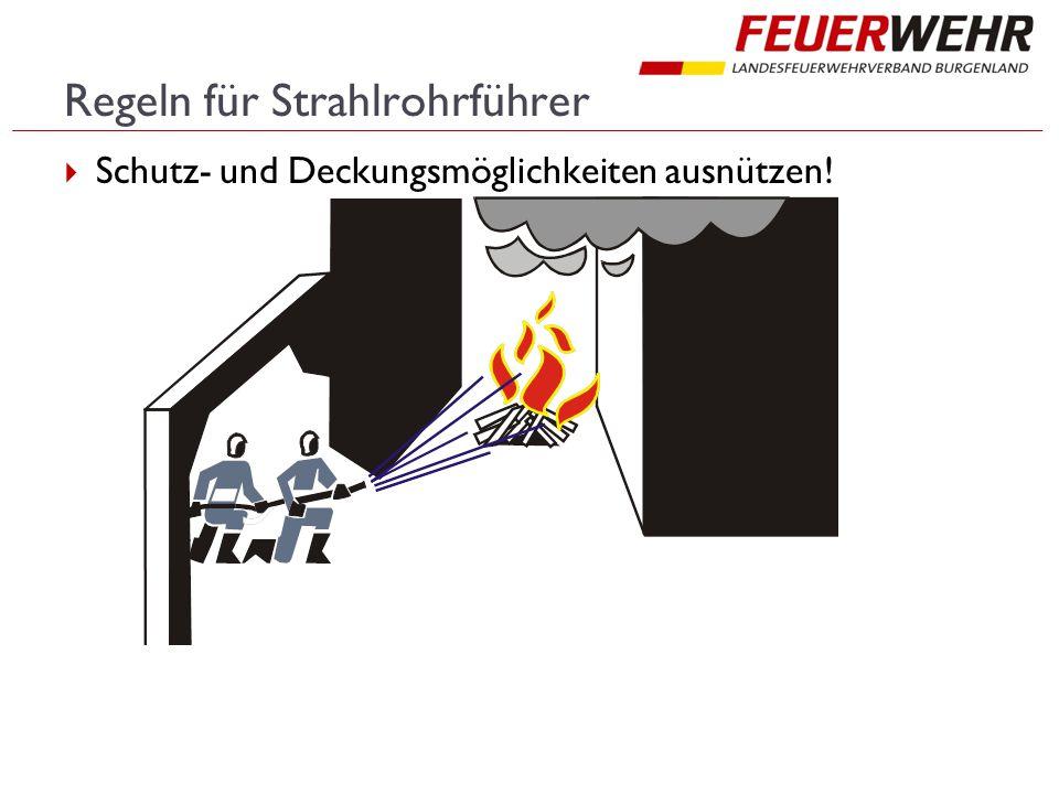 Regeln für Strahlrohrführer  Schutz- und Deckungsmöglichkeiten ausnützen!