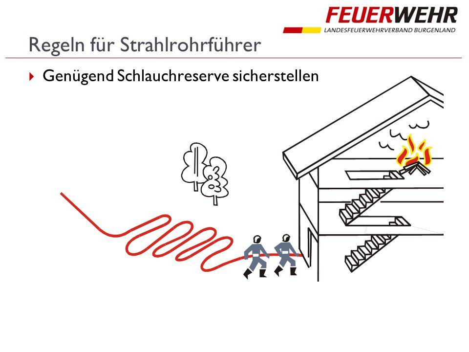 Regeln für Strahlrohrführer  Genügend Schlauchreserve sicherstellen