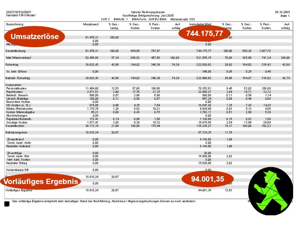 Umsatzerlöse 744.175,77 Vorläufiges Ergebnis 94.001,35