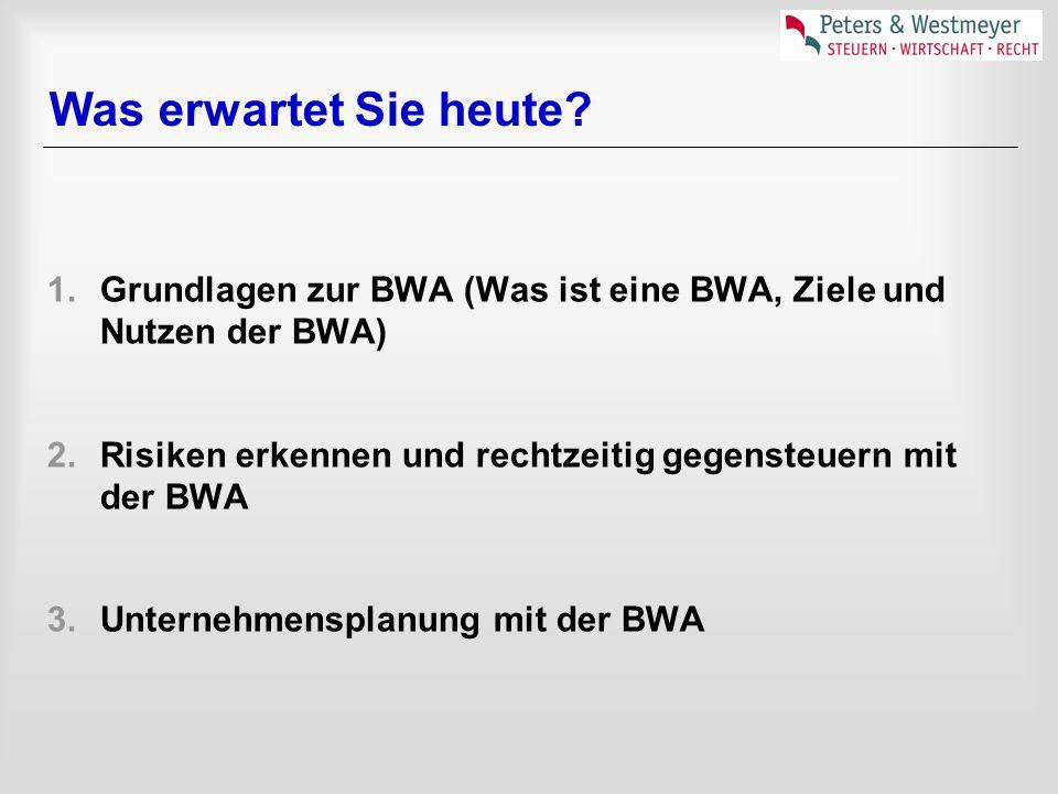 Was erwartet Sie heute? 1.Grundlagen zur BWA (Was ist eine BWA, Ziele und Nutzen der BWA) 2.Risiken erkennen und rechtzeitig gegensteuern mit der BWA