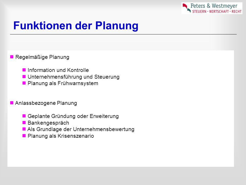 Regelmäßige Planung Information und Kontrolle Unternehmensführung und Steuerung Planung als Frühwarnsystem Anlassbezogene Planung Geplante Gründung oder Erweiterung Bankengespräch Als Grundlage der Unternehmensbewertung Planung als Krisenszenario Funktionen der Planung