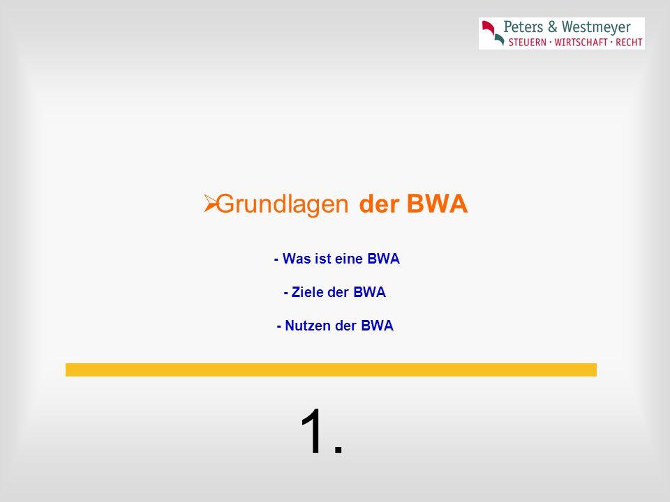  Grundlagen der BWA - Was ist eine BWA - Ziele der BWA - Nutzen der BWA 1.