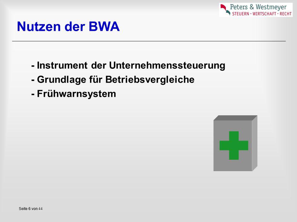 Seite 6 vonSeite 6 von 44 Nutzen der BWA - Instrument der Unternehmenssteuerung - Grundlage für Betriebsvergleiche - Frühwarnsystem 