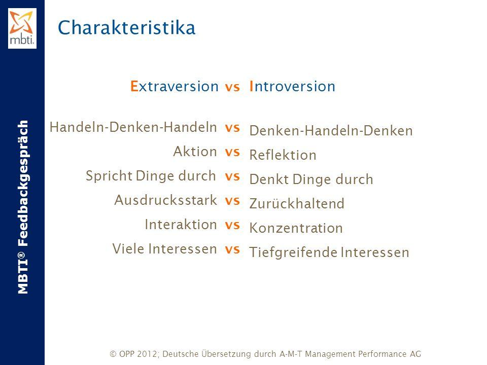 MBTI ® Feedbackgespräch © OPP 2012; Deutsche Übersetzung durch A-M-T Management Performance AG Extraversion vs Handeln-Denken-Handeln vs Aktion vs Spr