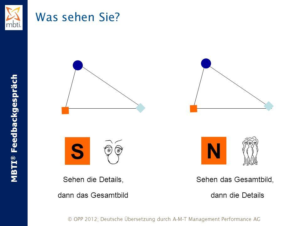 MBTI ® Feedbackgespräch © OPP 2012; Deutsche Übersetzung durch A-M-T Management Performance AG Was sehen Sie? Sehen das Gesamtbild,Sehen die Details,