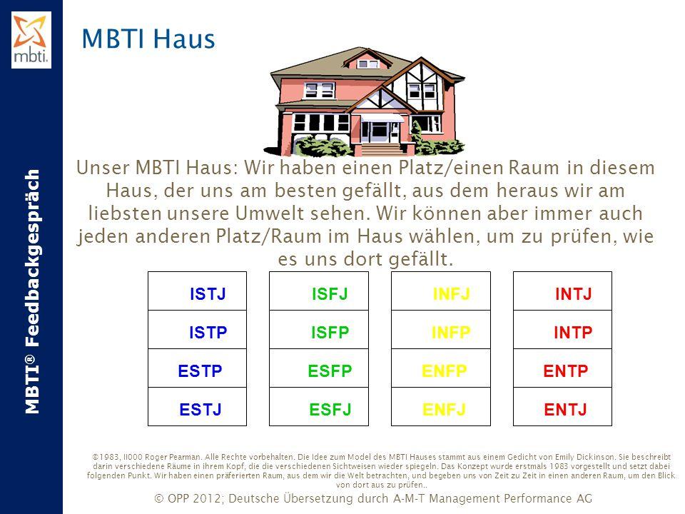 MBTI ® Feedbackgespräch © OPP 2012; Deutsche Übersetzung durch A-M-T Management Performance AG Unser MBTI Haus: Wir haben einen Platz/einen Raum in di