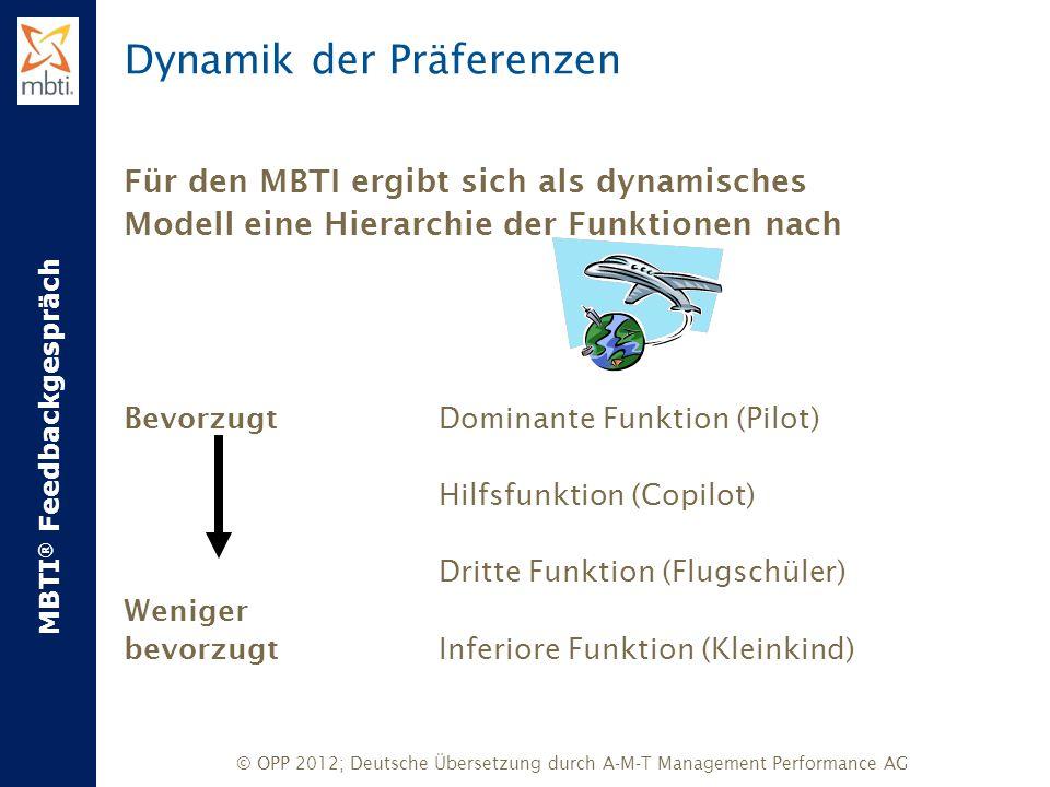 MBTI ® Feedbackgespräch © OPP 2012; Deutsche Übersetzung durch A-M-T Management Performance AG Dynamik der Präferenzen Für den MBTI ergibt sich als dy