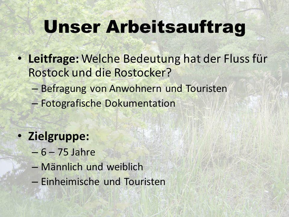 Unser Arbeitsauftrag Leitfrage: Welche Bedeutung hat der Fluss für Rostock und die Rostocker? – Befragung von Anwohnern und Touristen – Fotografische