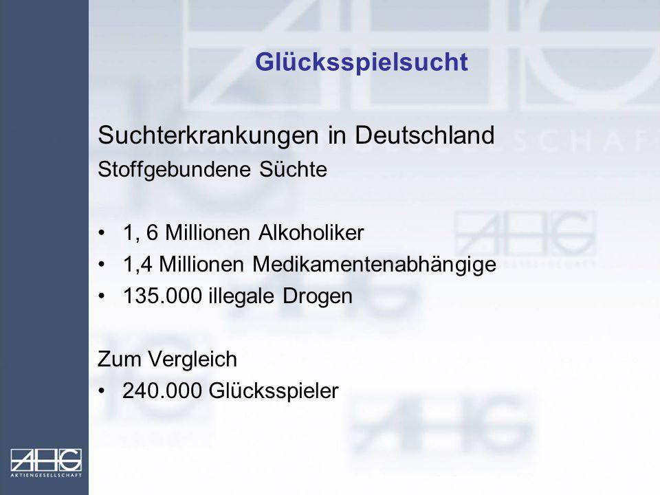 Glücksspielsucht Suchterkrankungen in Deutschland Stoffgebundene Süchte 1, 6 Millionen Alkoholiker 1,4 Millionen Medikamentenabhängige 135.000 illegal
