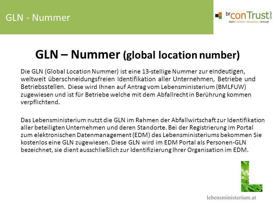 GLN – Nummer (global location number) Die GLN (Global Location Nummer) ist eine 13-stellige Nummer zur eindeutigen, weltweit überschneidungsfreien Ide