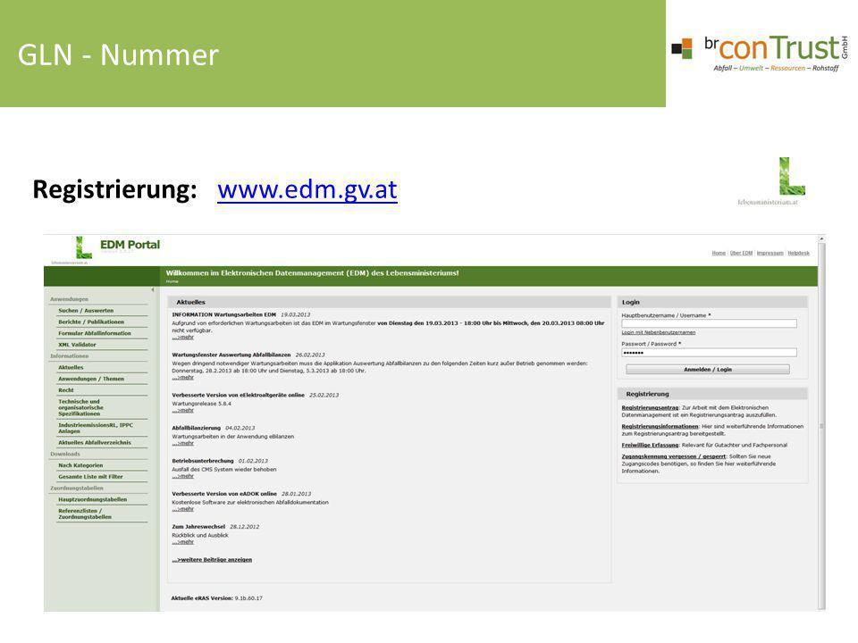 Registrierung: www.edm.gv.atwww.edm.gv.at GLN - Nummer