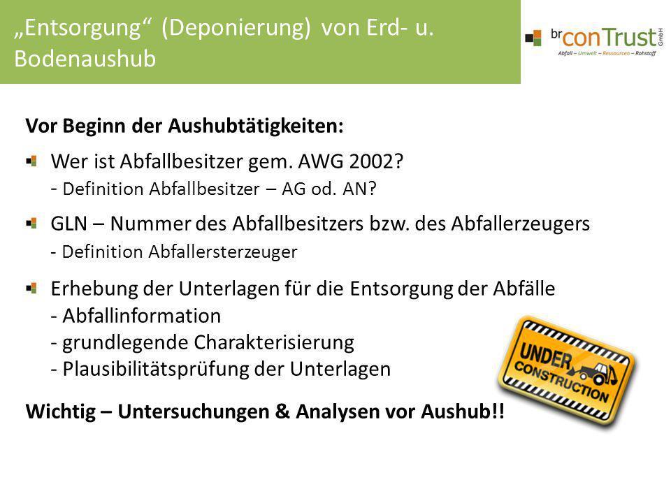Vor Beginn der Aushubtätigkeiten: Wer ist Abfallbesitzer gem. AWG 2002? - Definition Abfallbesitzer – AG od. AN? GLN – Nummer des Abfallbesitzers bzw.