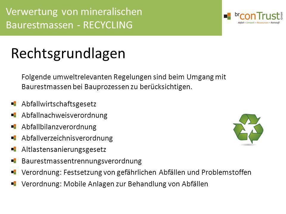 Rechtsgrundlagen Folgende umweltrelevanten Regelungen sind beim Umgang mit Baurestmassen bei Bauprozessen zu berücksichtigen. Abfallwirtschaftsgesetz