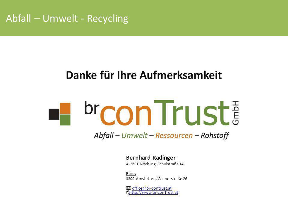 Danke für Ihre Aufmerksamkeit Bernhard Radinger A-3691 Nöchling, Schulstraße 14 Büro: 3300 Amstetten, Wienerstraße 26  office@br-contrust.at  http:/