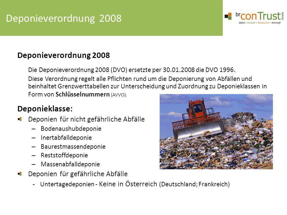 Deponieverordnung 2008 Die Deponieverordnung 2008 (DVO) ersetzte per 30.01.2008 die DVO 1996. Diese Verordnung regelt alle Pflichten rund um die Depon