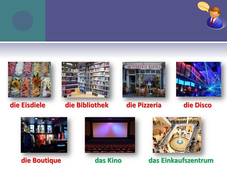 in die Eisdiele in die Bibliothek in die Pizzeria in die Disco in die Boutique ins Kino ins Einkaufszentrum W OHIN GEHST DU .