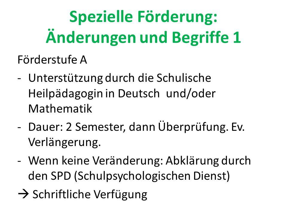 Spezielle Förderung: Änderungen und Begriffe 1 Förderstufe A -Unterstützung durch die Schulische Heilpädagogin in Deutsch und/oder Mathematik -Dauer: